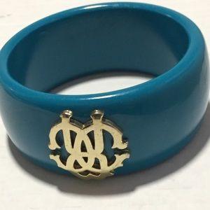 Ladies Aqua Blue Bangles with Gold Emblem